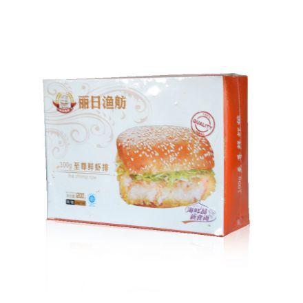 断货中-丽日渔舫 至尊鲜虾排 100g汉堡用HB0139  1200g/盒 9盒/箱